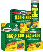 Spectracide's Bag-a-bug products, including bags and lures.