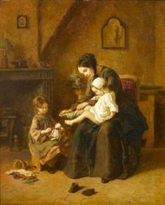 Pierre Edouard Frère (1819 – 1886, French). with a doll