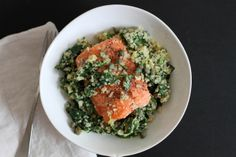 Salmon with Basil, Spinach, and Quinoa | Lattes & Leggings