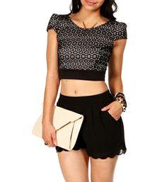 SALE-Black/White Knit Crop Top