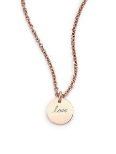 Astley Clarke - 14K Rose Gold Tiny Love Disc Pendant Necklace