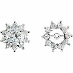 14K White Gold Diamond Earring Jacket RedBoxJewels.com. $1296.95
