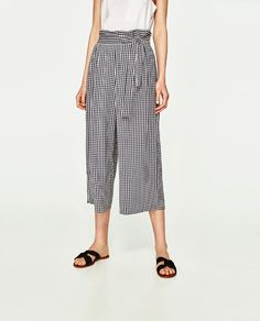 Image 3 of CROPPED TROUSERS WITH SIDE TIE from Zara
