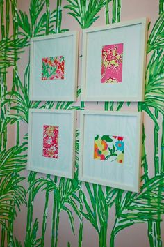 wallpaper + Lilly prints for C+E's bathroom.Lilly Pulitzer at Kenwood Towne Centre in Cincinnati, OH Diy Dorm Decor, Dorm Decorations, Room Decor, Do It Yourself Design, Make It Yourself, Lilly Pulitzer Prints, Lily Pulitzer, A Boutique, Diy Wall Art