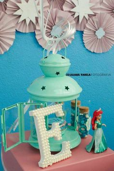Pretty decor at a Little Mermaid birthday party! See more party planning ideas at CatchMyParty.com!