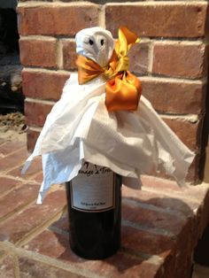 You've been BOO--zed! Bottle of wine left with note. Cute idea for friends/neighbors.