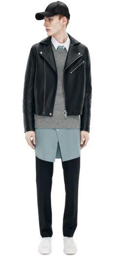 Acne Studios Gibson Leather Black in Black for Men Men Street, Street Wear, How To Wear Flannels, Inspiration Mode, Leather Men, Leather Jackets, Men Looks, Pull, Personal Style