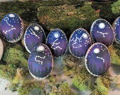 Handpainted Decorated Egg,Handpainted Ostara Egg Decor,Real Painted Easter Egg,Painted Decorative Zodiac Spring Decor,Decorative Egg