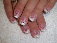 Pink & White with White Tips & Pink Flowers