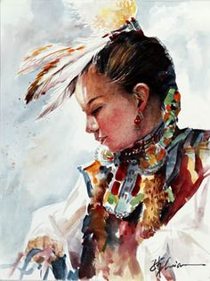 Dancer - Lian Zhen (Chinese-American,Watercolorist,)