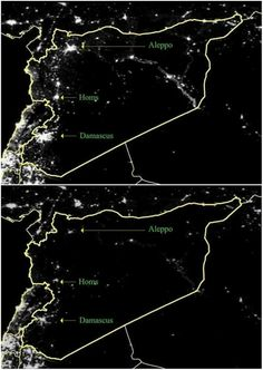 {  THE SYRIAN CIVIL WAR, FROM SPACE  } #ForeignPolicyResearchInstitute ....... ''Syria descending into darkness -- literally.''    http://m.theatlantic.com/international/archive/2014/12/the-syrian-civil-war-from-space/383257/