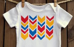 Chevron Geometric Pattern Primary Colors Red Yellow by MoMoPics