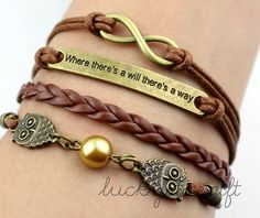 Where there is a will there is a way the owl charm infinite & bracelet brown rope brown leather braided bracelet fashion bracelet-Q207 by luckystargift,
