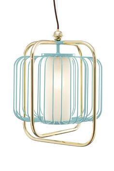 Colored metal and brass/copper suspension lamp JULES III by @mambounlimited