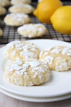 "Lemon crinkle cookies. Well that's better a real recipe not ""from a box and add an egg"" plus she's learning french, she gets all my support :-)"