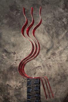 Bold Diamond Red Abstract Metal Wall Clock