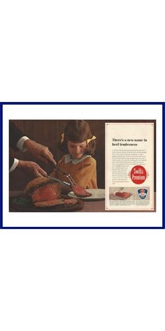 """SWIFT'S PREMIUM BEEF Original 1963 Vintage Extra Large Color Print Ad - """"There's A New Name In Beef Tenderness"""" by VintageAdarama on Etsy"""