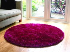 Starlet Circular Shaggy Rugs In Raspberry Free Uk Delivery