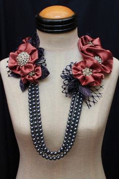 Necklace made from Fabric flowers and Beads.