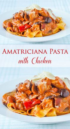 Amatriciana Pasta with Chicken (or Chicken Fettuccine with Blush Tomato Sauce) - a simple but delicious chicken and pasta dish that you can make any day of the week or even to serve at a dinner party.