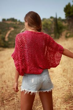 Dark pink hand knit loose weave shrug, pinky red cropped sweater, dark pink bolero, hand-knit cotton linen summer shrug, summer sweater