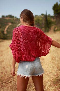 Tejido a mano rosa oscuro tejido suelto encogiéndose de hombros, pinky rojo recortada bolero rosado oscuro, encogiéndose de hombros de algodón tejidos a mano ropa de verano, suéter, suéter de verano