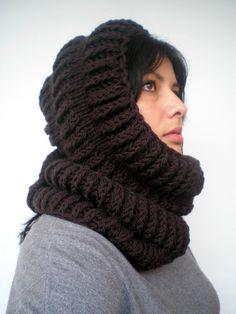 Dark Chocolate Brown Ball Hooded Schal Soft wolle Kapuze Fashion Chunky Kapuzen Schal neu gemischt