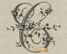 Antique French Monogram Letter A Instant Download by WingedImages