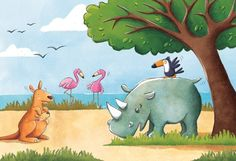 Marta Costa Illustration - marta, costa, marta costa, digital, commercial, educational, picture book, young reader, YA, colourful, colour, animals, kangaroo, rhino, flamingo, bird, sea, trees. water, grass, sky, clouds, beach, seaside, cute, sweet