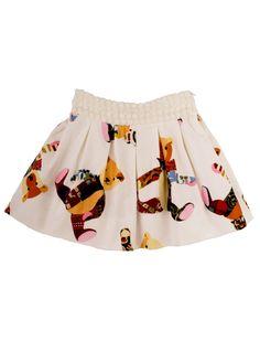 Velvet teddybear girls skirt with petticoat