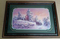Home Interiors Framed Print Sleigh Ride Winter Scene by Lee K. Parkinson     yard sale...$5