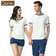 Couple Pajamas Sets Summer Fashion Cotton Short Sleeves Women Men Sleepwear  Nightwear Pyjamas Home Lounge T f5134f14a