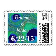 Personalized / customized, #peacock #feather #name and #date #postage #stamps in rich shades of #seafoam #green, #aqua, #Tiffany, #teal, #cobalt, #royal, and #navy #blue. Spice up your #wedding, #bridal #shower, #engagement party, #vow renewal, and anniversary invitations, announcements, save the dates, thank you notes, correspondence, and cards. Available horizontal or vertical, different mailing $ denominations, different colors, and other matching items.
