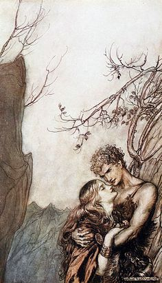Brunnhilde and Siegfried...from Rhinegold and Valkyries series by Arthur Rackham…