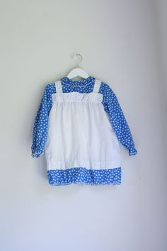 Vintage girls dress calico with pinafore 3/4T by fuzzymama on Etsy, $10.00