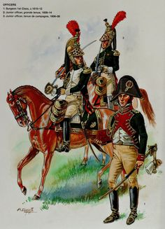 French;Imperial Guard, Empress Dragoons, L to R Junior Officer Grande Tenue 1808-14, Junior Officer Tenue de Campaign 1806-08 &  Surgeon 1st Class 1810-12 .by Patrice Courcelle