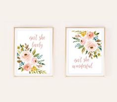 wall art nursery ideas girls baby room unisex boys gender neutral bohemian floral woodland forest farmhouse watercolor christian literature inspirational quotes  Isn't She Lovely Isn't She Wonderful Nursery Art Watercolor Boho Print Floral Woodland Forest | Printable Instant Download