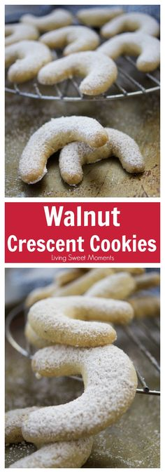 This melt-in-your-mouth crumbly Walnut Crescent Cookies recipe is super easy to make and it's the perfect dessert for the Holidays and entertaining. More Holiday cookies at livingsweetmoments.com