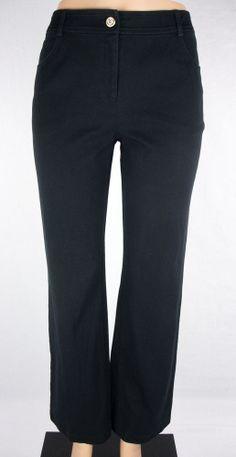ST. JOHN Pants Size 6 S Caviar Black Casual Cotton Stretch #StJohn #CasualPants