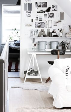 very similar to my office configuration.  Would love to put a shelf above my desk and pin up more inspiration photos.