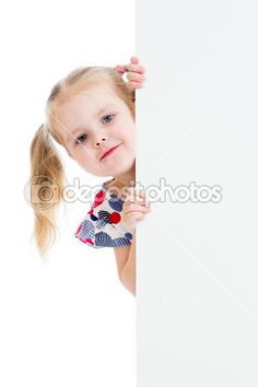 Adorable child with blank advertising banner — Stock Image #23723771