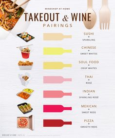 From sushi to soul food, pair your favorite takeout with the perfect wine. Ask me for recommendations! Wine Tasting Party, Wine Parties, Wine Cheese Pairing, Wine Pairings, Food Pairing, Wine Chart, Chateauneuf Du Pape, Wine Guide, In Vino Veritas