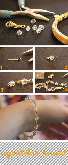 Diy crystal chain bracelet