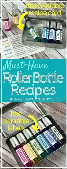 6 must-have essential oil roller bottle recipes with free PRINTABLE LABELS {Immune Energy Calm Tension Tummy & Focus} Doterra Essential Oils, Natural Essential Oils, Essential Oil Diffuser, Essential Oil Blends, Natural Oils, Young Living Essential Oils Rollerball, Essential Oils Young Living Recipes Rollers, Focus Essential Oils, Diy Gifts Essential Oils