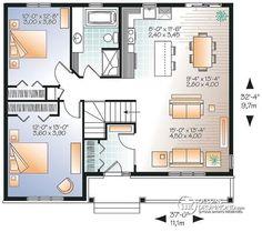 Plan de Rez-de-chaussée Plain-pied moderne rustique économique, espace famille ouvert, grande douche, grand vestibule - Clarendon