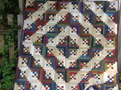 Ninepatch, Log cabin quilt, scrappy, Double Bed quilt