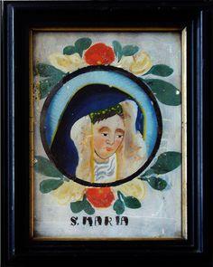 Maria, Hinterglasbild, Schwarzwald? 19. Jahrhundert, Rahmen 15,8 x 20 cm  Innen 11 x 15,5 cm Inspiration, Glass Pictures, Painting, Art, Whimsical, Pictures, Folk, Naive
