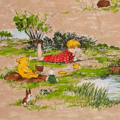 Winnie the Pooh - A local lady who knows of my vintage fabric addiction let me know about this - so sweet. Not convinced it's THAT old, but It is from the original illustrations, not Disney. If anyone can help me out with age I'd be greatful...!