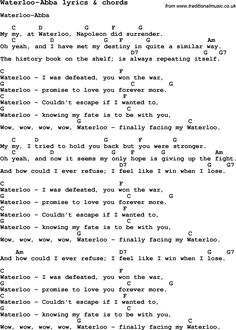 Love Song Lyrics for: Waterloo-Abba with chords for Ukulele, Guitar Banjo etc.