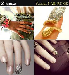 O nail rings (anel de unha) é a nova tendência de acessorios para mão, ou melhor, para as unhas! Eles são usados em cima ou na ponta das unhas. Eai, curtiu?